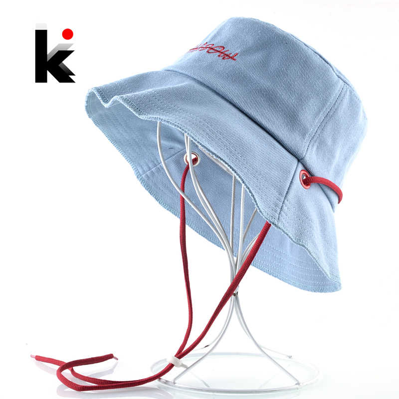 Solid Color Bucket Hat For Women Cotton Breathable Sun Cap Embroidery Letter Foldable Beach Hats Men Casual Floppy Wide Brim Hat