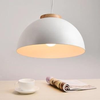 New Modern LED Pendant Lights E27 Round White Wooden Dining Light Metal Lampshade Hanging Lamp Iron Suspension Lighting