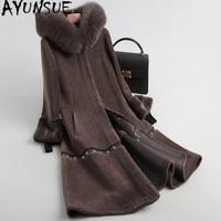AYUNSUE Sheep Shearing Coats Real Wool Fur Coat Female Natural Fox Fur Collar Hooded Winter Jackets Women Mink Cuff 18143 YQ2004