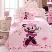 minnie mouse quilt comforter bedding set single twin size duvet covers bedspread cotton fabric reactive print purple color girls