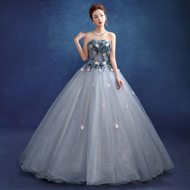2019 Gary/Lake Blue Strapless Flowers Appliques Singer Solo Ball Gown Marie Antoinette Party Performance Host Dresses