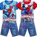5 peças/lote Spiderman crianças conjunto de roupas, moda verão camisa cartoon crianças shorts jeans ajustados, meninos bebê t da criança terno de calça