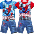 5 pieces/lot Spiderman kids clothing set,fashion cartoon children summer shirt jeans shorts set,baby toddler boys tees pant suit