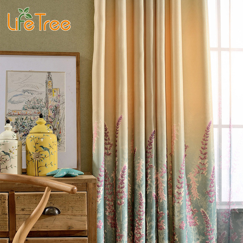 Lavender Printed Modern font b Curtains b font Gradient Pattern For Living Room Flat Window Drapes