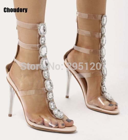 df504a9b3c US $53.99 5% OFF women gladiator clear sandals bling bling diamonds knee  high boots crystal high heel buckle strap transparent PVC wedding sandal-in  ...