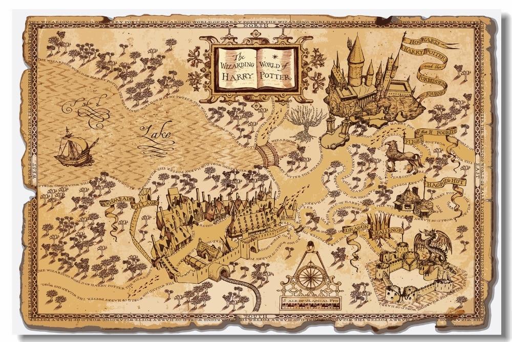 Custom Canvas Wall Decor Retro Marauders Map Poster Magic World Map