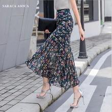 Летняя богемная длинная шифоновая юбка-труба для женщин, большие размеры, высокая талия, длина по щиколотку, оборки, тонкая юбка-Русалка с принтом на бедрах для девочек