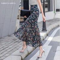 Summer Bohemian Long Chiffon Trumpet Skirt Women Plus Size High Waist Ankle Length Ruffles Slim Hip Print Mermaid Skirt For Girl