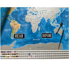 Waterproof Scratch Close Map World Map Best Decoration School Office Stationery