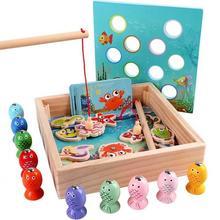 Детская деревянная магнитная головоломка для рыбалки мальчиков