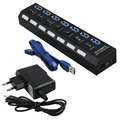 Alta Velocidade de 7 Portas USB 3.0 Hub 5 Gbps Com Power On/Off Switch Cabo Adaptador para PC Portátil Notebook UE/EUA