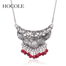 HOCOLE Vintage Ethnic Tibetan Silver Necklace Jewelry Carved Hollow Charm Pendants Necklaces For Women Statement Maxi Necklaces vintage jewelry bohemian tibetan silver chain necklaces gypsy ethnic carved metal flower pendants necklaces for women