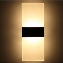 Modern Acrylic 12w LED Wall Sconces Aluminum Lights Decorative Lamps Night Light for Pathway Staircase Bedroom Balcony GentelWay