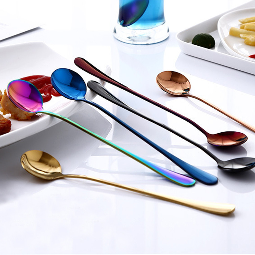 Head-Spoon Round Long-Handle Stainless-Steel Kitchen Tableware 7-Colors With Tea Coffee