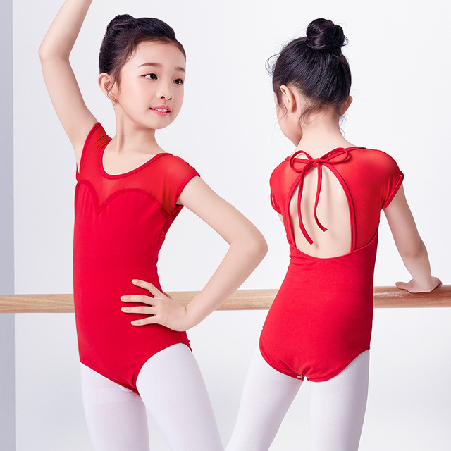 Новые Девушки Дети сетки сращивания короткий рукав Холтер шеи открытой спиной танец купальник балетный комбинезон-боди Одежда для танцев красный
