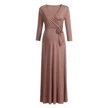 ARLONEET maternity dresses nursing dress Women's Pregnancy V Collar Long Sleeve Dress Maternity Solid Color Sundress L1108