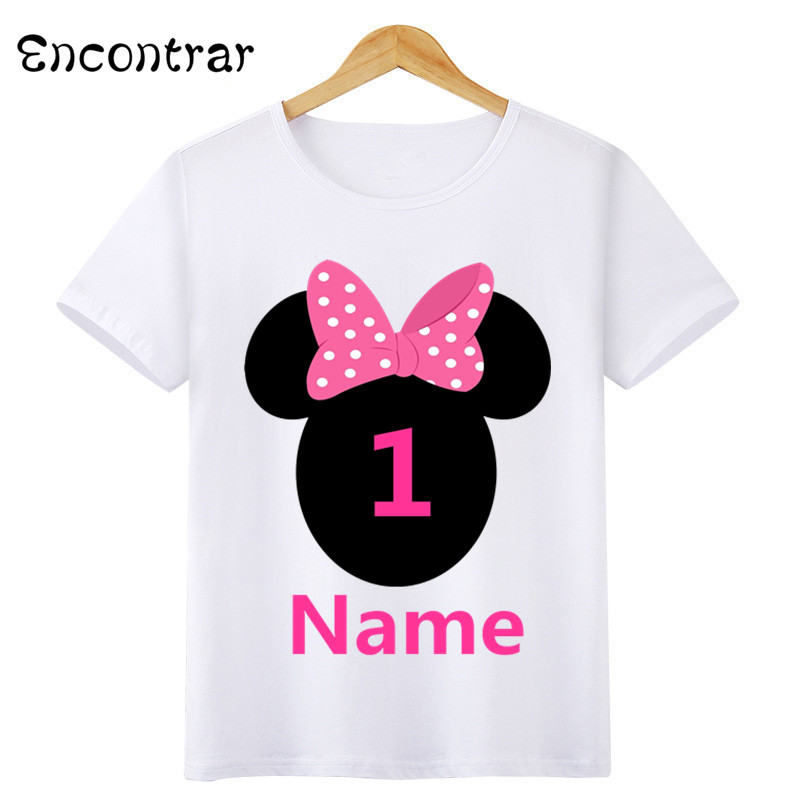 Boys/Girls Birthday Numbers Bow Cartoon Print T Shirt Kids Short Tops Children Design Your Name and number Cute T-Shirt,HKP3055 Купальник
