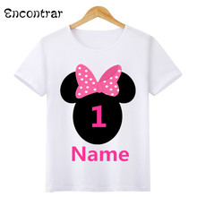 купить Boys/Girls Birthday Numbers Bow Cartoon Print T Shirt Kids Short Tops Children Design Your Name and number Cute T-Shirt,HKP3055 дешево