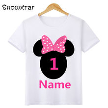 Boys/Girls Birthday Numbers Bow Cartoon Print T Shirt Kids Short Tops Children Design Your Name and number Cute T-Shirt,HKP3055(China)