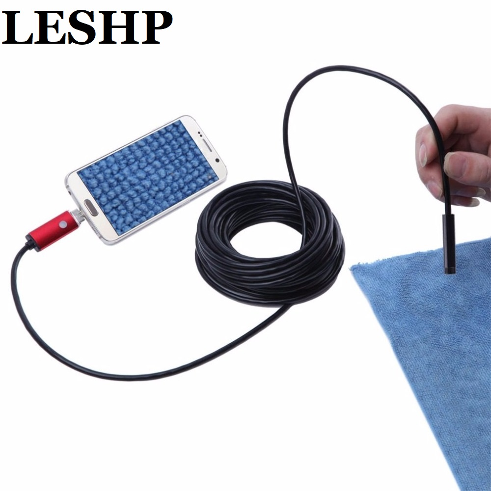 HD 720P 8mm 10M 2 in 1 USB connector Endoscope Waterproof Borescope Inspection Camera Surpport to Android & PC System Black Red 7mm lens mini usb android endoscope camera waterproof snake tube 2m inspection micro usb borescope android phone endoskop camera