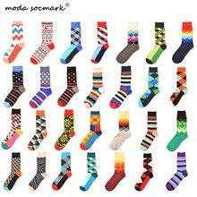 цена Moda Socmark Brand Happy Socks Men Classic Geometry Striped Funny Socks Men Women 2019 Fashion Colour Cotton Long Couple Socks онлайн в 2017 году
