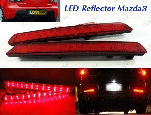For Mazda3 Axela BK Red Lens Rear Bumper Reflector LED Tail Brake Stop Light For Mazda 3 07-09 Mazdaspeed3 ветровики skyline mazda 3 hb5d 09