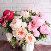 Peony Flower European Style 1 Bouquet 7 Heads Artificial Flowers Fall Vivid Fake Leaf Wedding Home Party Decoration Silk Floers