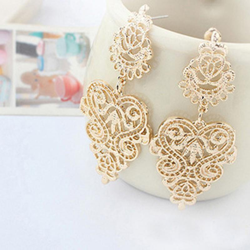 Bohemian Style Earrings Retro Vintage Silver Light Yellow Gold Color Long Drop Dangle Earrings Women Leaves Jewelry