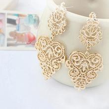 Earirings pierced silver-plated dangle bohemian drop retro alloy plated earrings gold