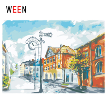 WEEN Town Diy Painting By Numbers Abstract Street Oil On Canvas House Tree Cuadros Decoracion Acrylic Wall Art Gift