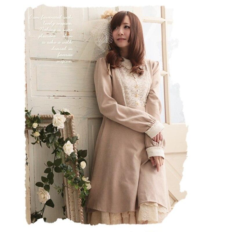 Autumn Winter Peter Pan Collar Lace Vintage Dress Japan