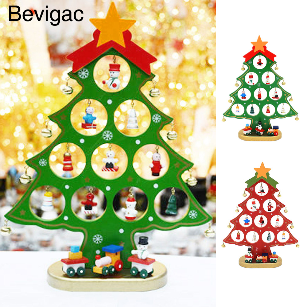 Behogar Mini Wooden Christmas Tree Table Decoration Xmas Ornament Decor Gift for Home Office Shop Window Christmas Party