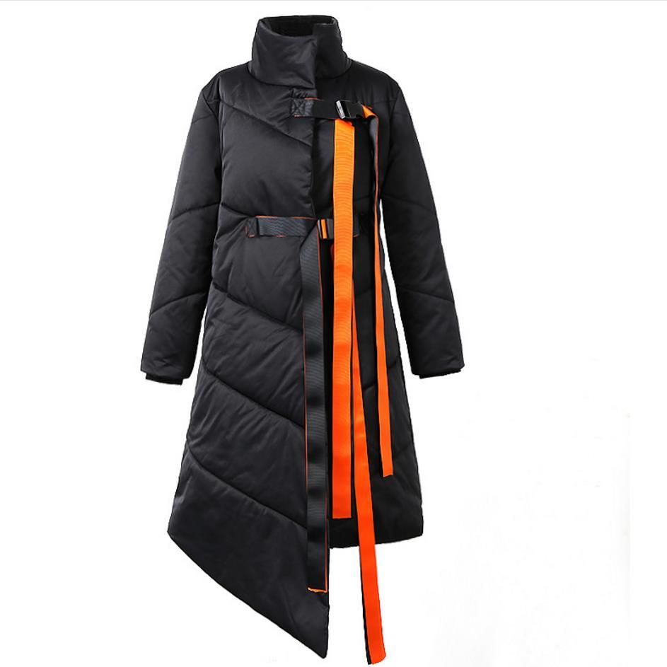 winter   coat   2018   down     coat   personality thickening stand collar irregular   down   jacket women   coat   black loose
