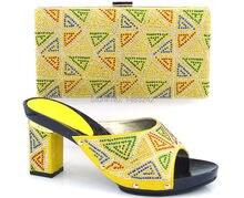 B8014 gelb italienische schuhe und tasche set royal blau Afrikanische partei schuhe und tasche set passende mit vielen strass
