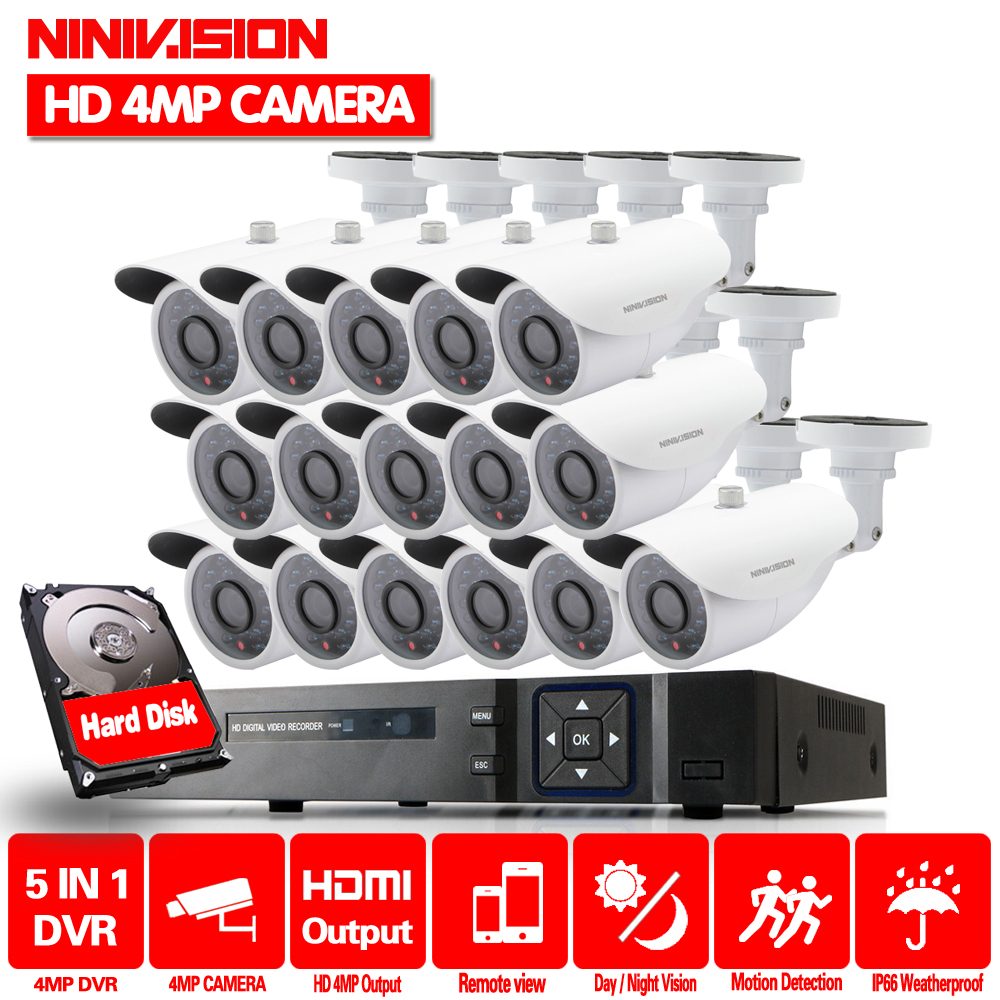 16ch 4MP Camera kit camera video surveillance 16 Channel DVR 4MP AHD Security Cameras Outdoor IR Lens CCTV System Night Vision sucam outdoor 180 360 degrees panaromic security ahd camera 4mp infrared night vision video surveillance cameras 20 meters ir