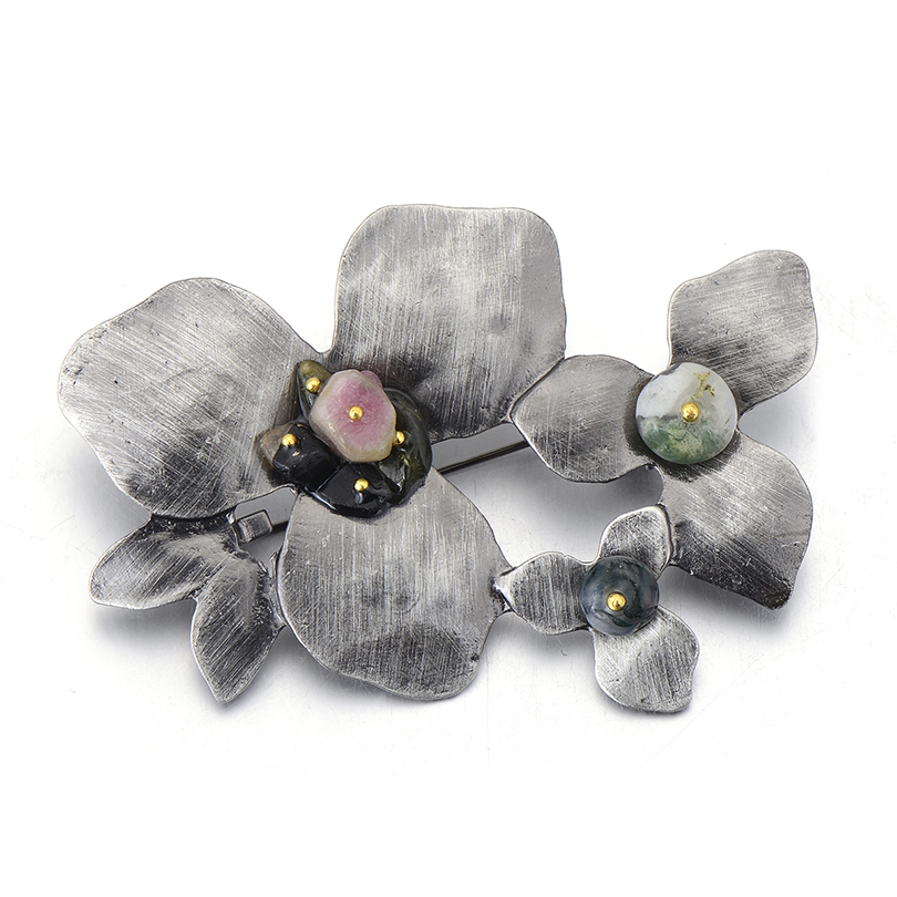 3pcs/lot Wholesale Trendy Antique Flower Brooch Classic Natural Stone Bouquet Brooches Safety Pin Clothes Accessories Hot