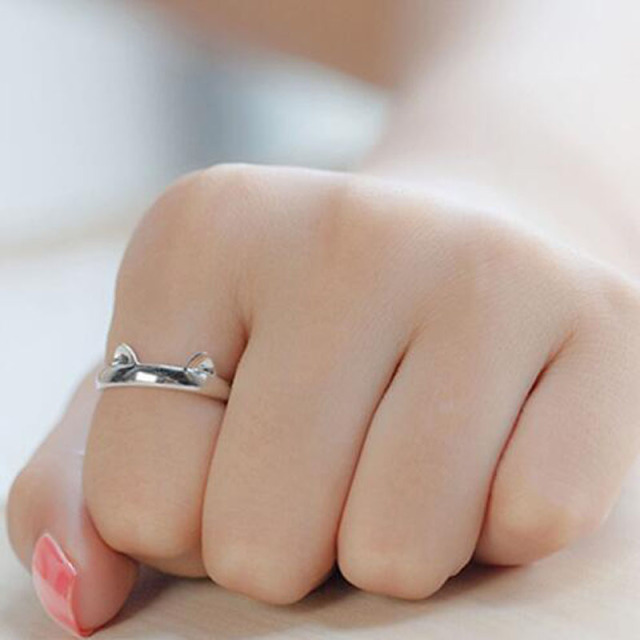 Silver Plated Cat Ring Adjustable