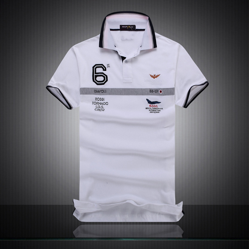 2016 Good Quality Embroidery   Polos   Shirts Aeronautica Militare Men Shirts Diamond Fashion Shark Brand Clothing
