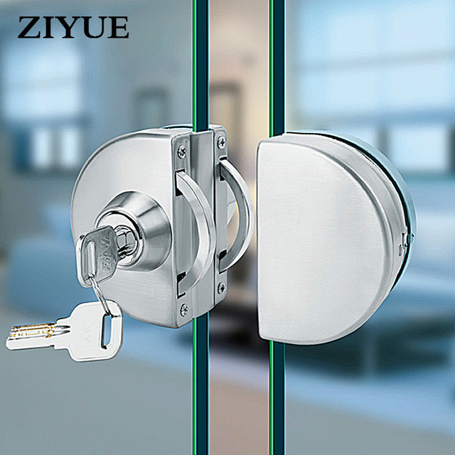 Free Shipping Frameless Double Glass Door Lock Stainless Steel One