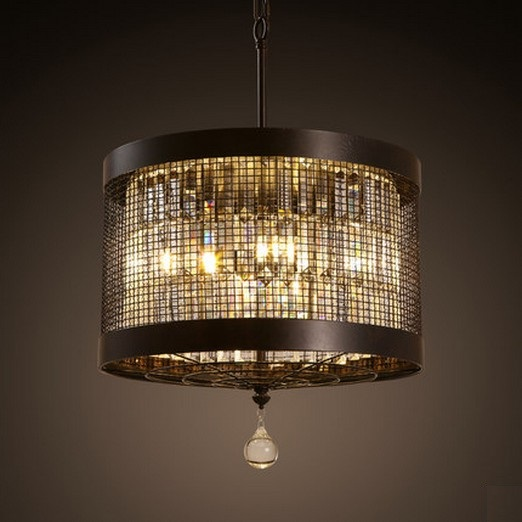 American iron round droplight led crystal pendant light for Hanging light fixtures for dining room