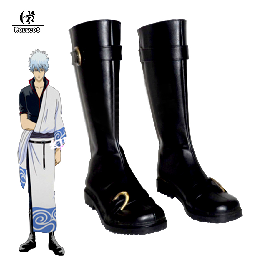 ROLECOS New Arrival Anime Gintama Cosplay Shoes Unisex Costume Shoes Sakata Gintoki Cosplay Shoes Black Boots