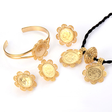 Womens Ethiopian Coins Jewelry Set Flower 24K Gold Plated Wedding Engagement Jewellery Bracelet Necklace Earings Africa African