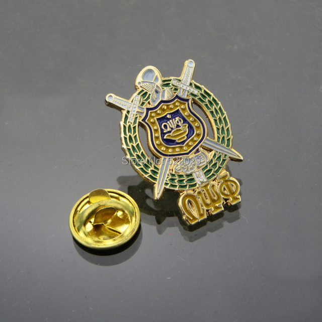 18 K Gold Plated Omega Psi Phi Fraternity Shield Lapel Pin In