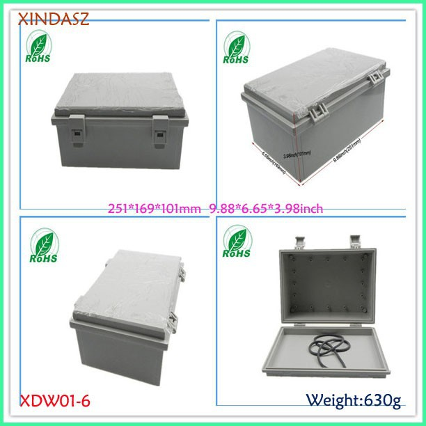 (XDW01-6) 250*170*100mm 9.88*6.65*3.98inch Large IP65 ABS Hinged Waterproof Junction Box MG Enclosure With Lock 4pcs a lot diy plastic enclosure for electronic handheld led junction box abs housing control box waterproof case 238 134 50mm