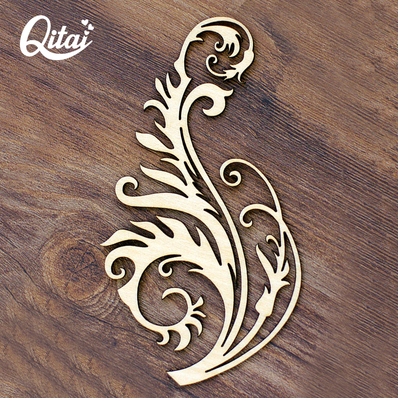 QITAI 12 पीसेज / लॉट वुडेन डेकोरेशन स्क्रैपबुक क्राफ्ट्स ऑप बैग में पैक किए गए नए फूल क्रिएटिव उत्पाद DIY उत्पाद WF024