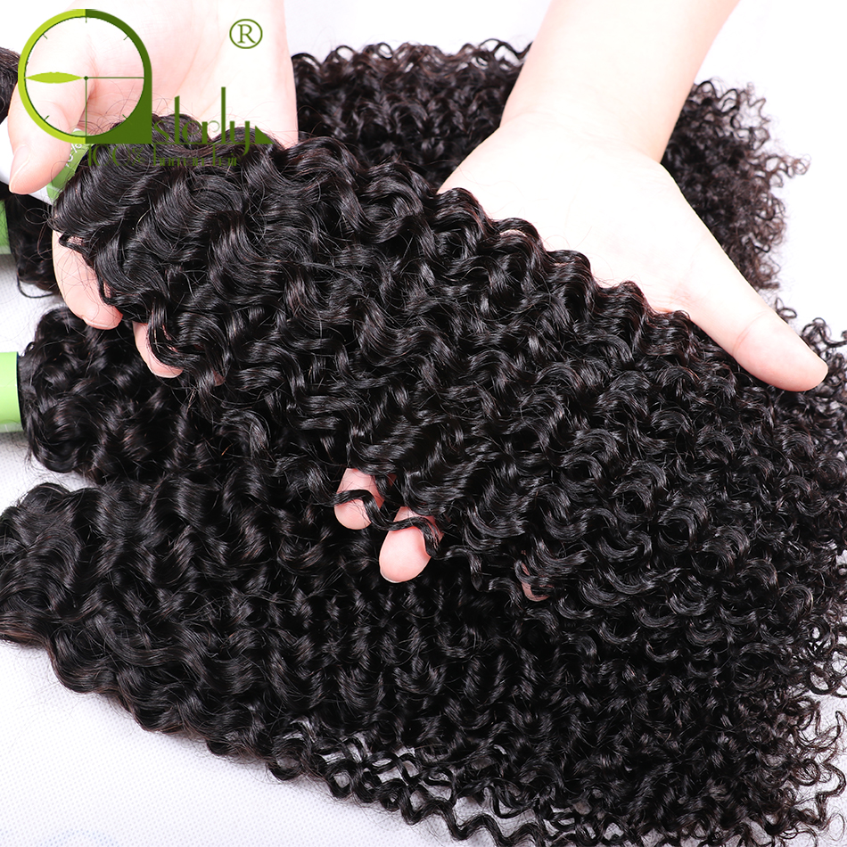 Sterly Kinky Curly Bundles With Frontal Remy Human Hair Bundles With Closure Brazilian Hair Weave Bundles With Closure