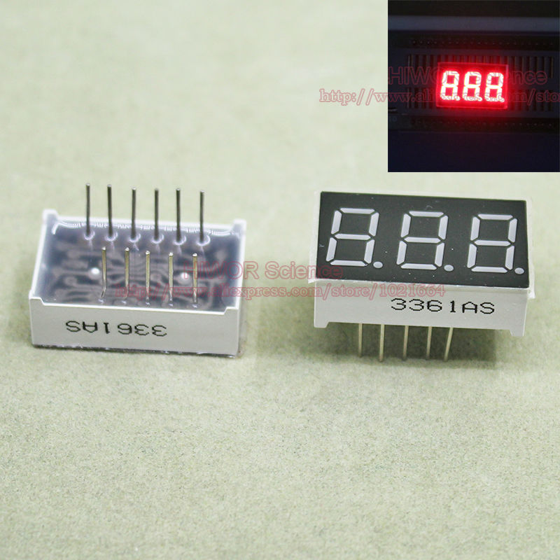 (10pcs/lot) LED Display 0.36 Inch 11 Pins 3 Digits Bits 7 Segment Red LED Display Share Common Cathode Digital Display 3631AR