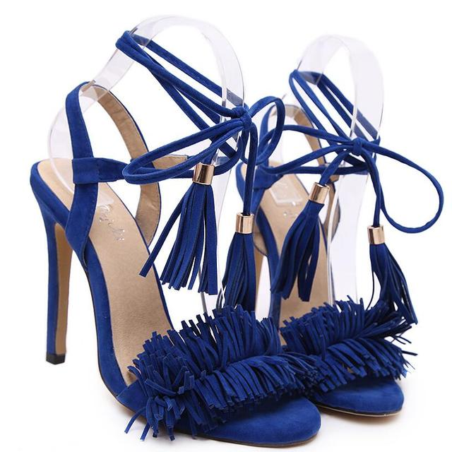 BAYUXSHUO Tassel Sandals Spain Summer Style Ladies Sexy Stiletto pumps Women Fringe High Heels Sandals Party Wedding Shoes Woman
