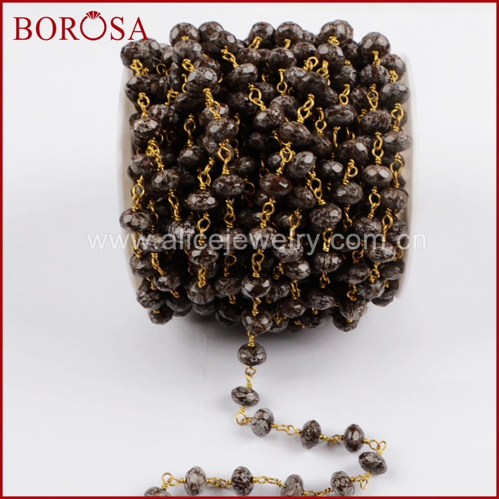 BOROSA Gold Color 8x5mm Roundel Snow Stone Faceted Beads Wire Wrapped Beaded Chain,High Quality Drusy Rosary Chain JT181