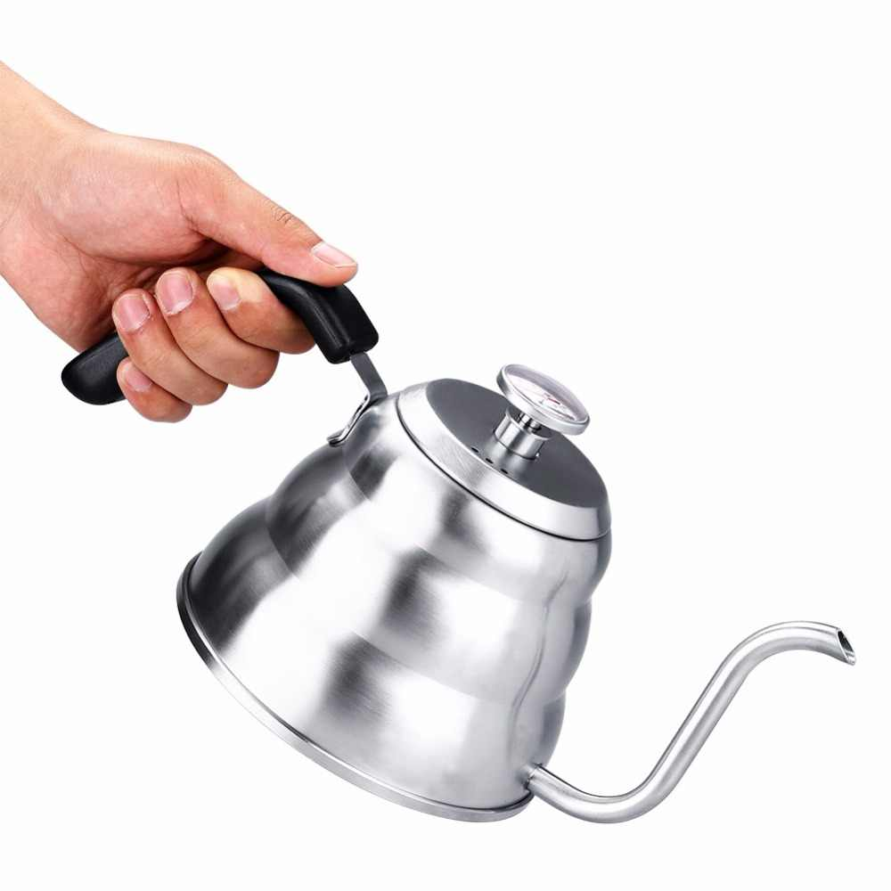 1200/1000ML Stainless Steel Drip Kettle Pour Over Pot With thermometer Home Electric Stoves Use Tea Pot Barista Coffee Tool 2018